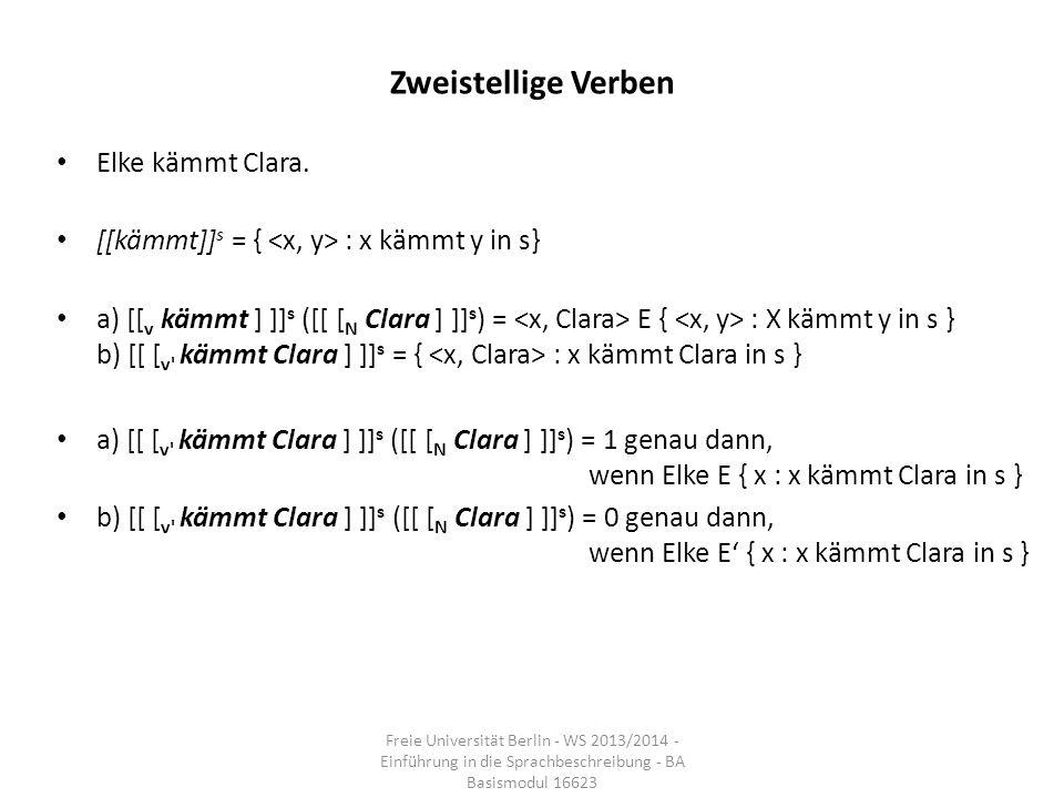 Zweistellige Verben Elke kämmt Clara. [[kämmt]] s = { : x kämmt y in s} a) [[ v kämmt ] ]] s ([[ [ N Clara ] ]] s ) = E { : X kämmt y in s } b) [[ [ v