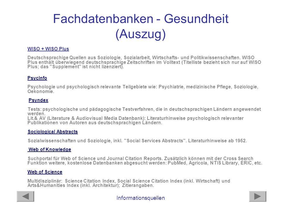 Informationsquellen Fachdatenbanken - Gesundheit (Auszug) WISO + WISO Plus Deutschsprachige Quellen aus Soziologie, Sozialarbeit, Wirtschafts- und Pol