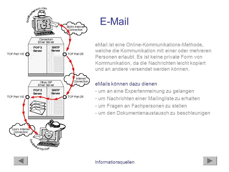 Informationsquellen E-Mail eMail ist eine Online-Kommunikations-Methode, welche die Kommunikation mit einer oder mehreren Personen erlaubt. Es ist kei