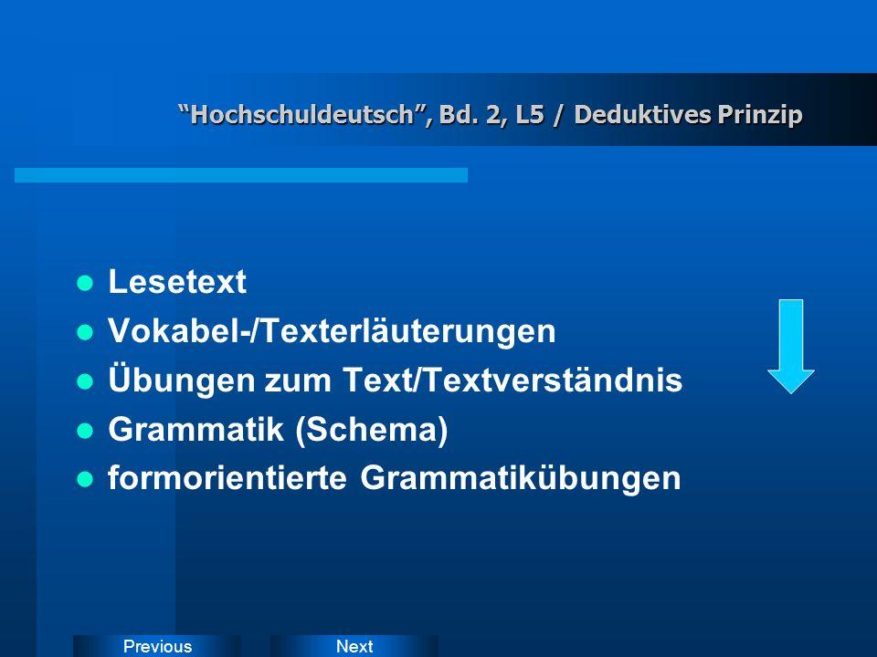 NextPrevious Lehrbuch Hochschuldeutsch, Bd.
