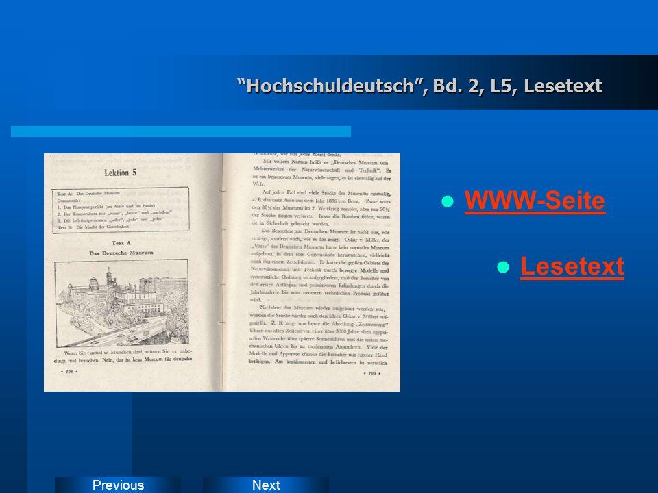 NextPrevious Hochschuldeutsch, Bd.