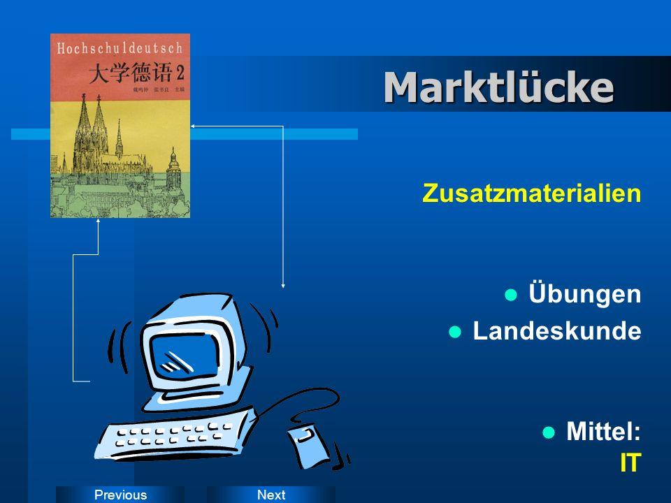 NextPreviousMarktlücke Zusatzmaterialien Übungen Landeskunde Mittel: IT