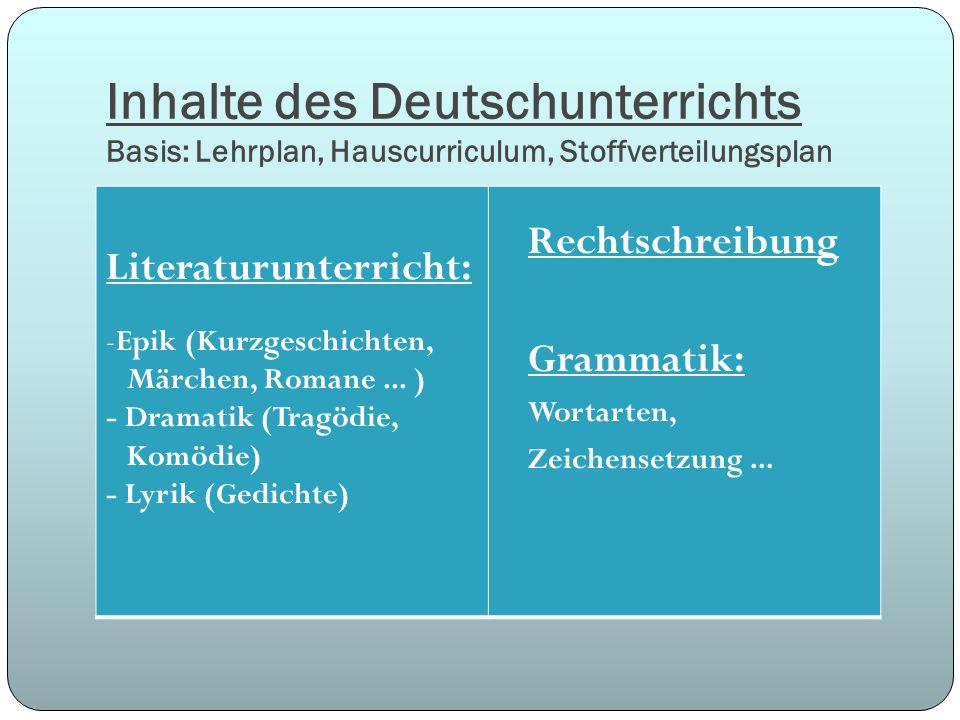 Inhalte des Deutschunterrichts Basis: Lehrplan, Hauscurriculum, Stoffverteilungsplan Literaturunterricht: -Epik (Kurzgeschichten, Märchen, Romane... )