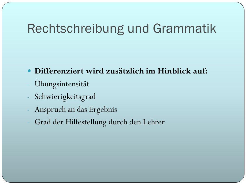 Rechtschreibung und Grammatik Differenziert wird zusätzlich im Hinblick auf: - Übungsintensität - Schwierigkeitsgrad - Anspruch an das Ergebnis - Grad