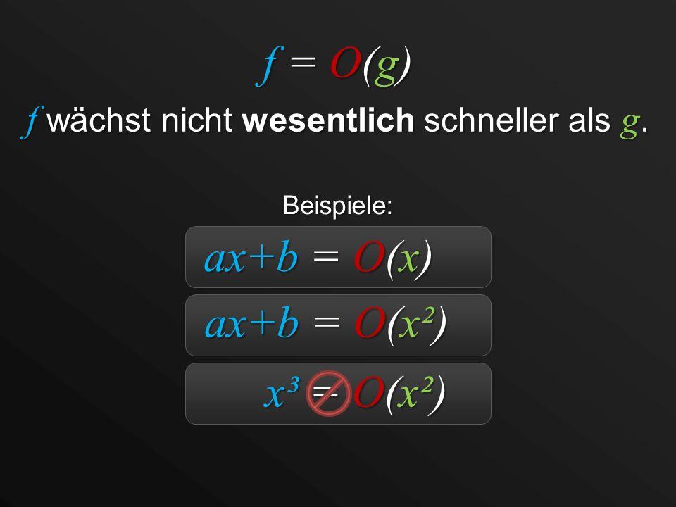 f = O(g) f wächst nicht wesentlich schneller als g. ax+b = O(x) ax+b = O(x²) x³ = O(x²) Beispiele: