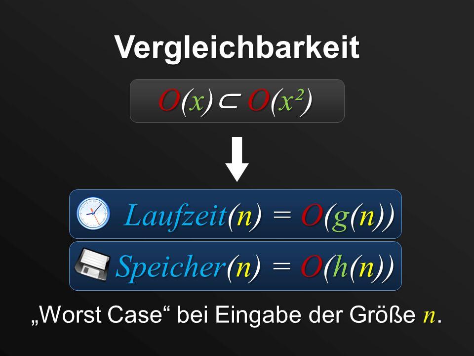 Worst Case bei Eingabe der Größe n. Vergleichbarkeit Laufzeit(n) = O(g(n)) Speicher(n) = O(h(n)) O(x) O(x²)