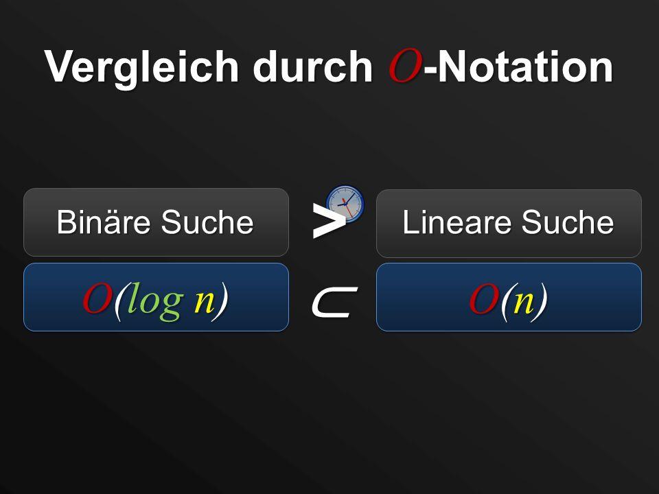 Vergleich durch O -Notation O(log n) Binäre Suche Lineare Suche O(n)O(n)O(n)O(n) >