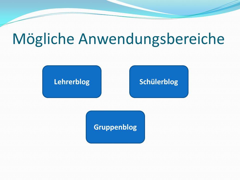Mögliche Anwendungsbereiche LehrerblogSchülerblog Gruppenblog