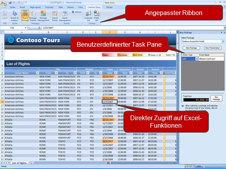 Angepasster Ribbon Benutzerdefinierter Task Pane Direkter Zugriff auf Excel- Funktionen