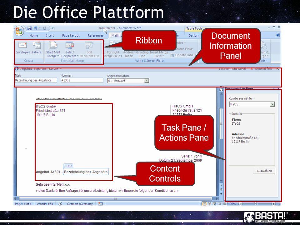 Document Information Panel (DIP) Darstellung von externen Metadaten Vollständige Integration in SharePoint Dynamische Dokumente Basiert auf InfoPath Vollständig anpassbar