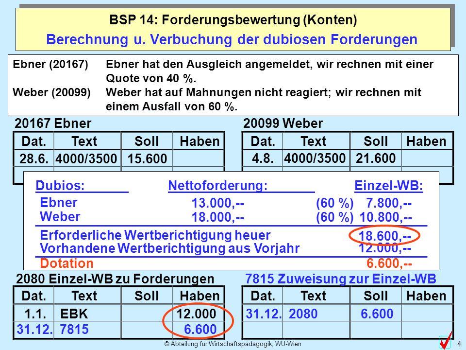 © Abteilung für Wirtschaftspädagogik, WU-Wien 4 Berechnung u. Verbuchung der dubiosen Forderungen BSP 14: Forderungsbewertung (Konten) Dat.TextSollHab