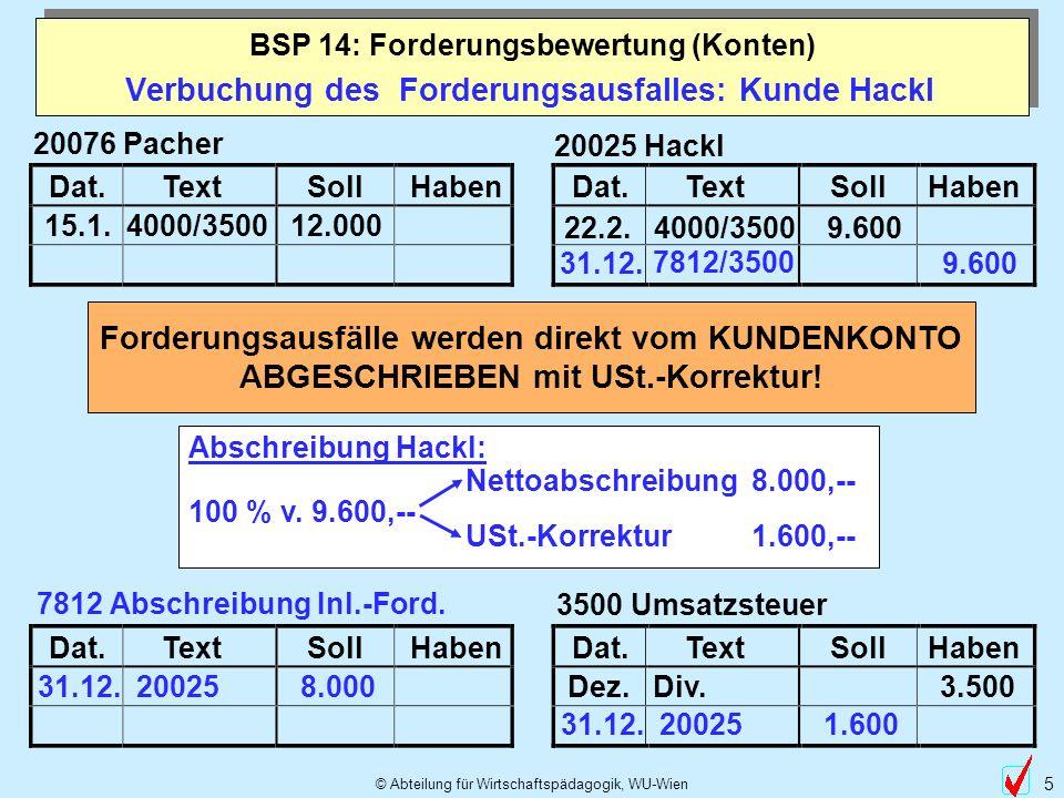© Abteilung für Wirtschaftspädagogik, WU-Wien 5 Verbuchung des Forderungsausfalles: Kunde Hackl Dat.TextSollHabenDat.TextSollHaben 20025 Hackl 22.2. 4