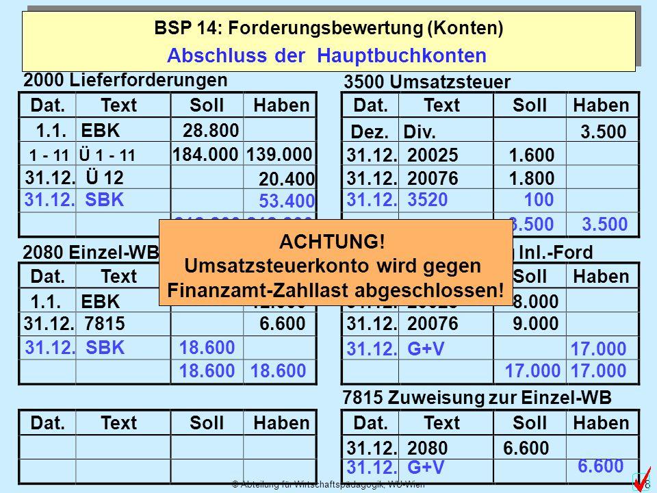 © Abteilung für Wirtschaftspädagogik, WU-Wien 9 Variante: Welche Buchung würde sich ergeben, wenn die neu berechnete Summe der Einzelwertberichtigungen 8.000,-- betragen würde.