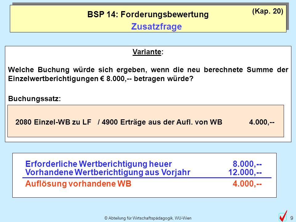 © Abteilung für Wirtschaftspädagogik, WU-Wien 9 Variante: Welche Buchung würde sich ergeben, wenn die neu berechnete Summe der Einzelwertberichtigunge