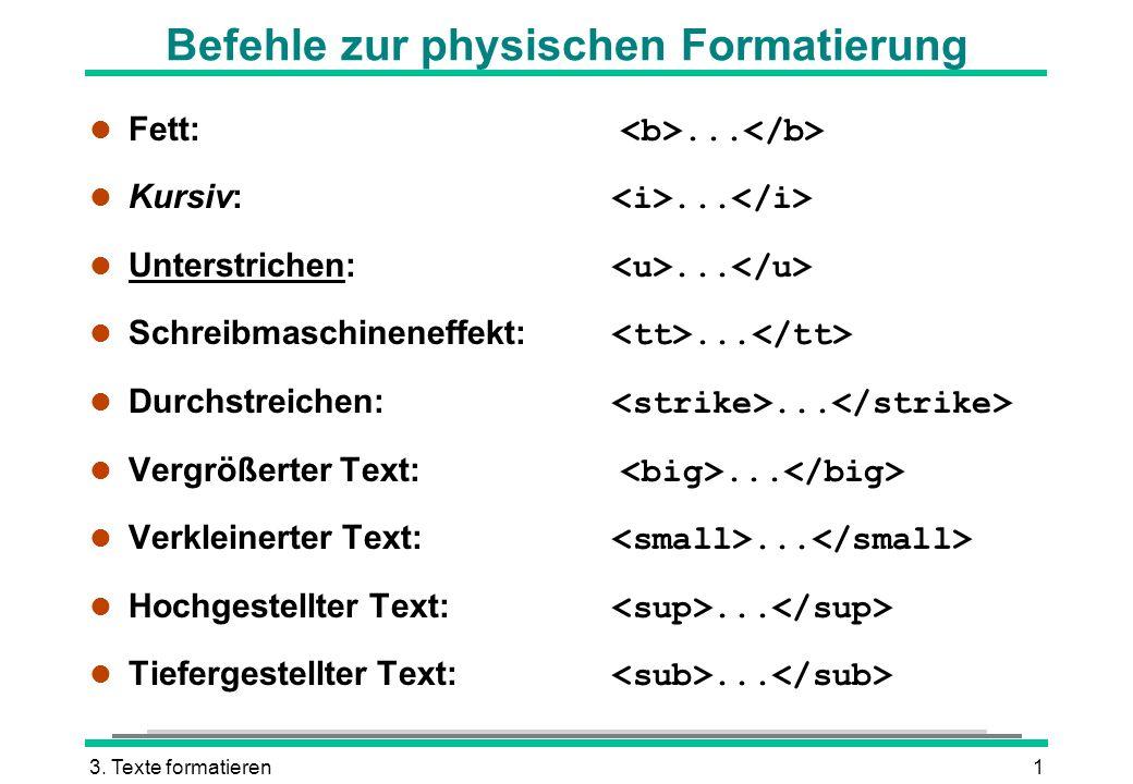 3. Texte formatieren1 Befehle zur physischen Formatierung Fett:... Kursiv:... Unterstrichen:... Schreibmaschineneffekt:... Durchstreichen:... Vergröße
