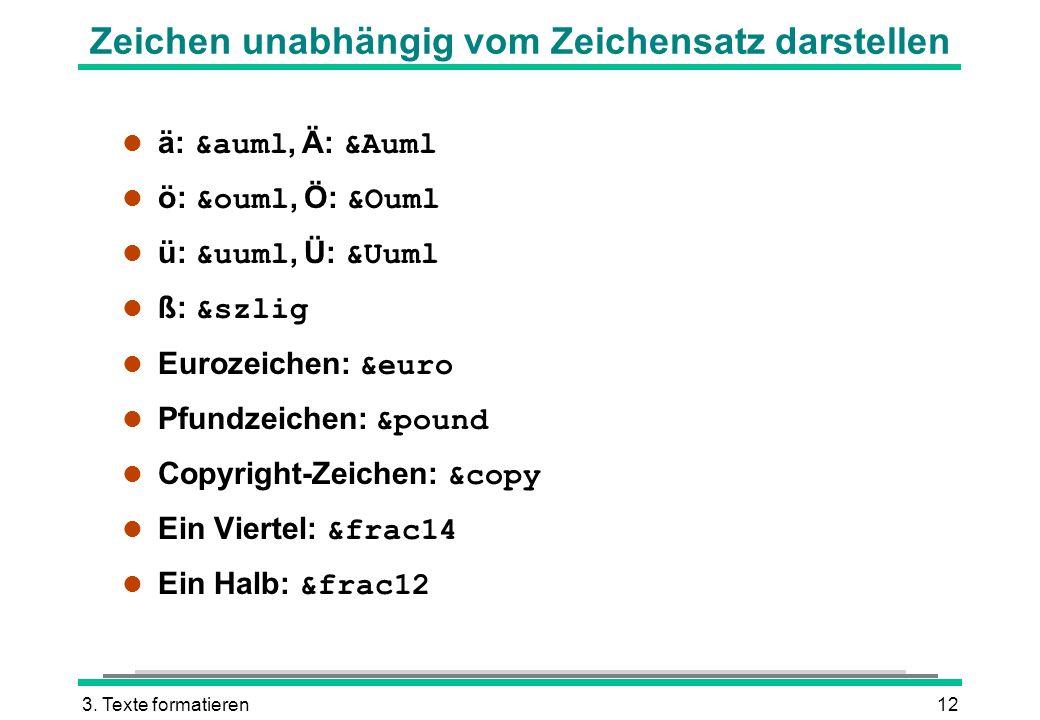 3. Texte formatieren12 Zeichen unabhängig vom Zeichensatz darstellen ä: &auml, Ä: &Auml ö: &ouml, Ö: &Ouml ü: &uuml, Ü: &Uuml ß: &szlig Eurozeichen: &