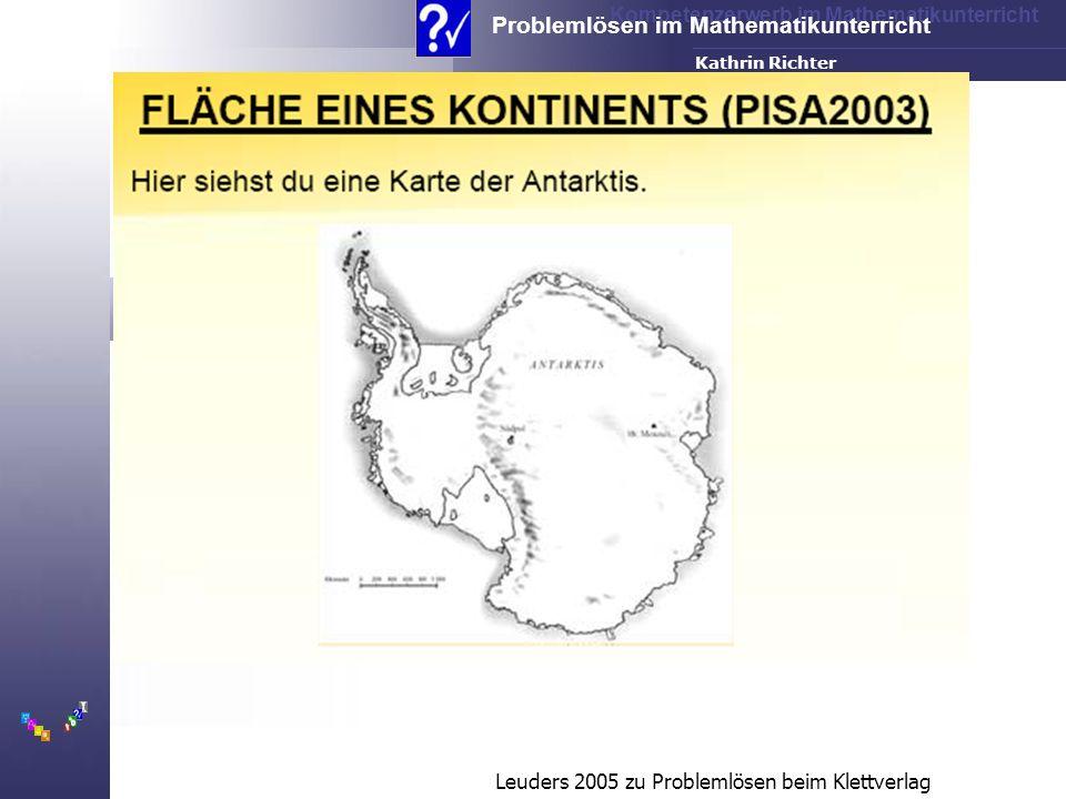 Kompetenzerwerb im Mathematikunterricht Problemlösen im Mathematikunterricht FH-Dortmund Kathrin Richter Leuders 2005 zu Problemlösen beim Klettverlag