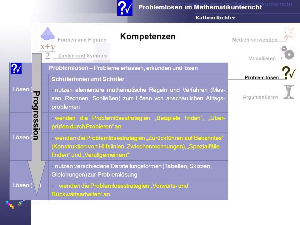Kompetenzerwerb im Mathematikunterricht Problemlösen im Mathematikunterricht FH-Dortmund Kathrin Richter Medien verwenden Modellieren Problem lösen Ar