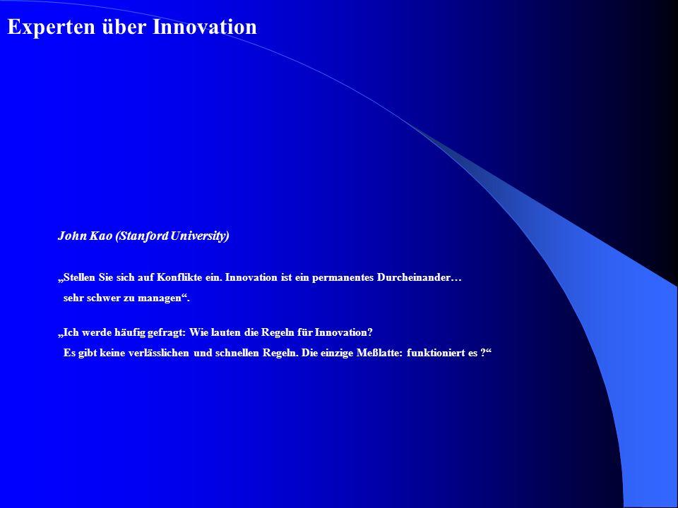 Strategie und Umsetzung von Innovationszielen Struktur: durchlässig flexibel für Austausch von Ideen und Personen Management von Personen: Freiräume für Kreativität Offenheit nach außen, Vernetzung mit externen Experten Bereitschaft zu lernen und mit Gewinn zu scheitern offenes Innovationsklima schaffen Schaffung einer Innovationskultur
