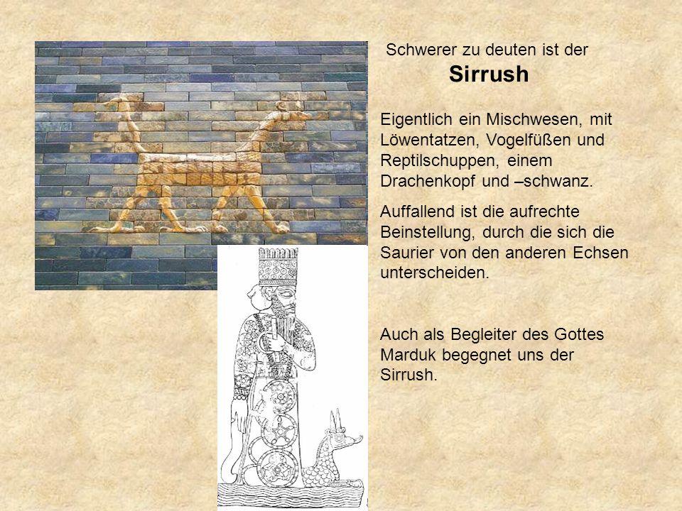 Schwerer zu deuten ist der Sirrush Eigentlich ein Mischwesen, mit Löwentatzen, Vogelfüßen und Reptilschuppen, einem Drachenkopf und –schwanz.