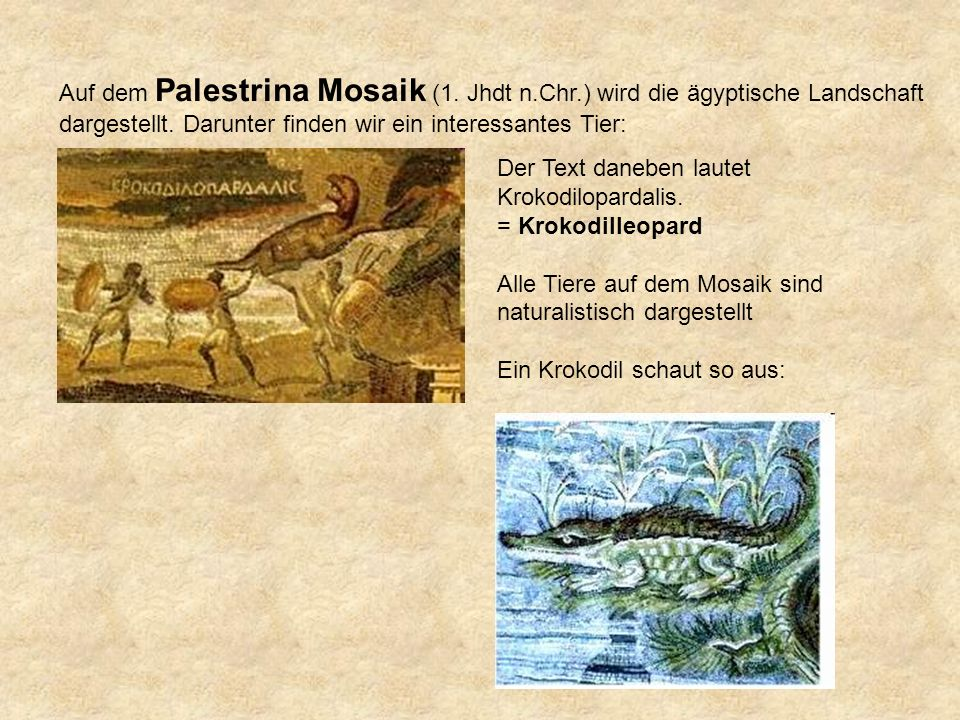 Auf dem Palestrina Mosaik (1.Jhdt n.Chr.) wird die ägyptische Landschaft dargestellt.