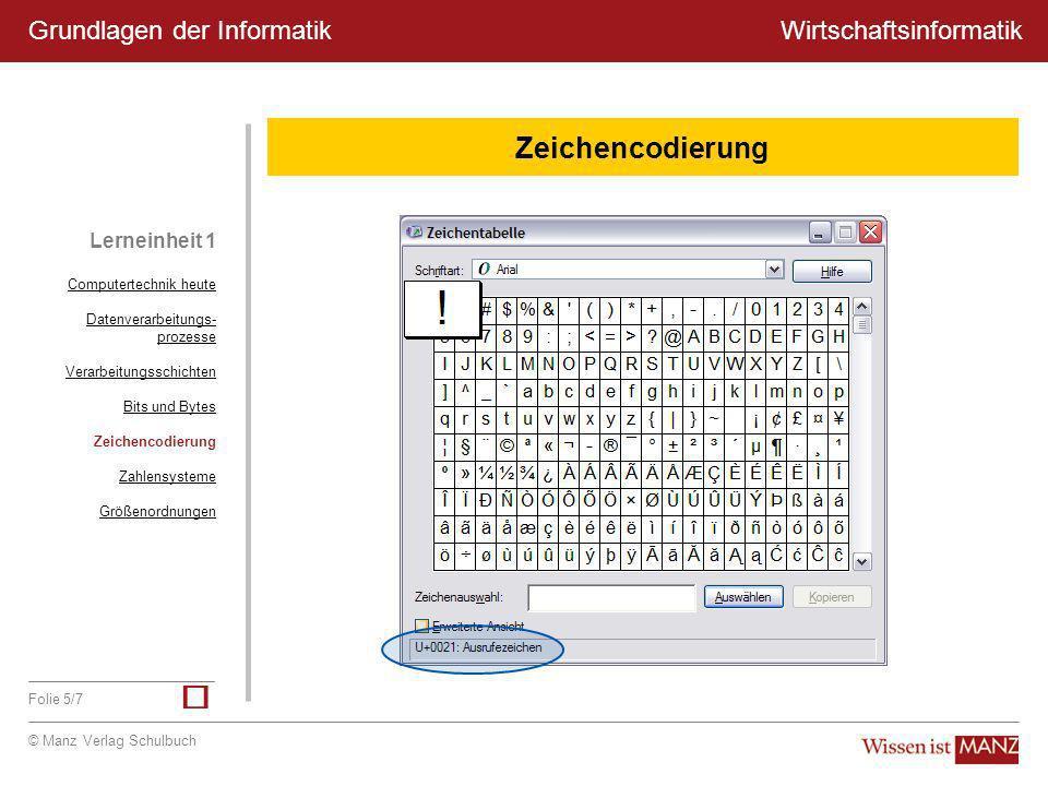 © Manz Verlag Schulbuch Wirtschaftsinformatik Folie 5/7 Grundlagen der Informatik Lerneinheit 1 Zeichencodierung Computertechnik heute Datenverarbeitu