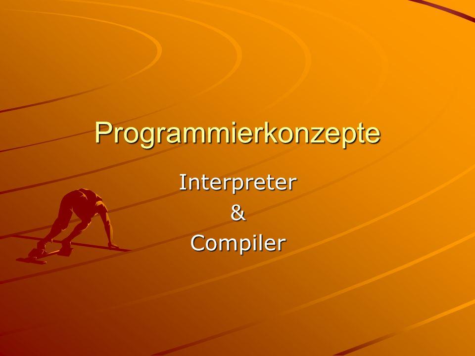 drwm©2k1..2k11 - Programmierkonzepte 2 Interpretersprachen Ein Quelltext wird erstellt Reiner ASCII-Text Der Interpreter liest eine Zeile –Prüft die Syntax, wenn richtig … –Übersetzt in die Maschinensprache (MC) –Führt den Befehl aus, –Liest die nächste Zeile, bis alle Zeilen abgearbeitet sind.