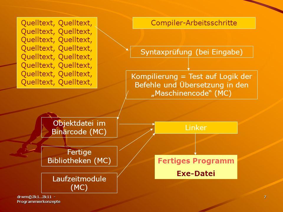 drwm©2k1..2k11 - Programmierkonzepte 7 Quelltext, Quelltext, Quelltext, Quelltext, Quelltext, Quelltext, Quelltext, Quelltext, Compiler-Arbeitsschritt