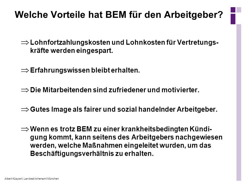 Albert Küspert, Landeskirchenamt München Welche Vorteile hat BEM für den Arbeitgeber? Lohnfortzahlungskosten und Lohnkosten für Vertretungs- kräfte we