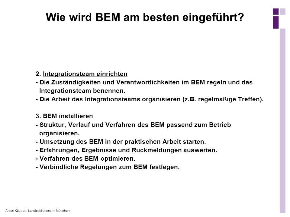 Albert Küspert, Landeskirchenamt München Wie wird BEM am besten eingeführt? 2. Integrationsteam einrichten - Die Zuständigkeiten und Verantwortlichkei