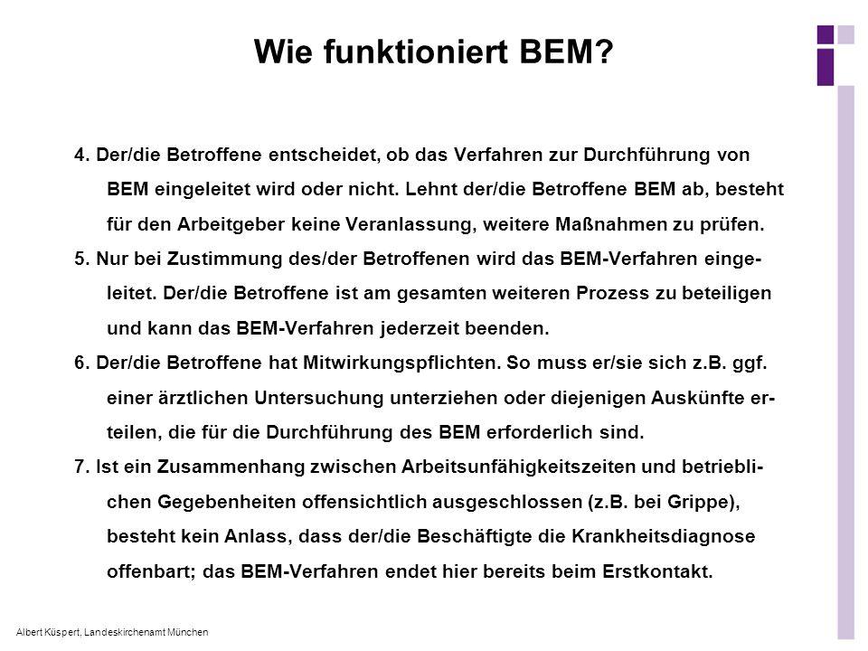 Albert Küspert, Landeskirchenamt München 4. Der/die Betroffene entscheidet, ob das Verfahren zur Durchführung von BEM eingeleitet wird oder nicht. Leh