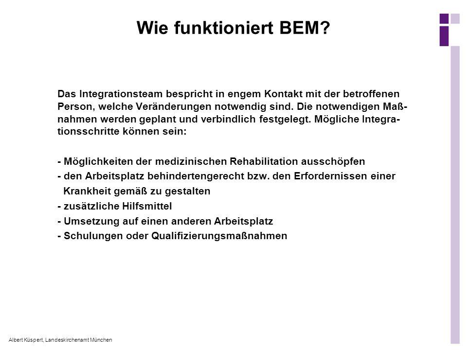 Albert Küspert, Landeskirchenamt München Wie funktioniert BEM? Das Integrationsteam bespricht in engem Kontakt mit der betroffenen Person, welche Verä