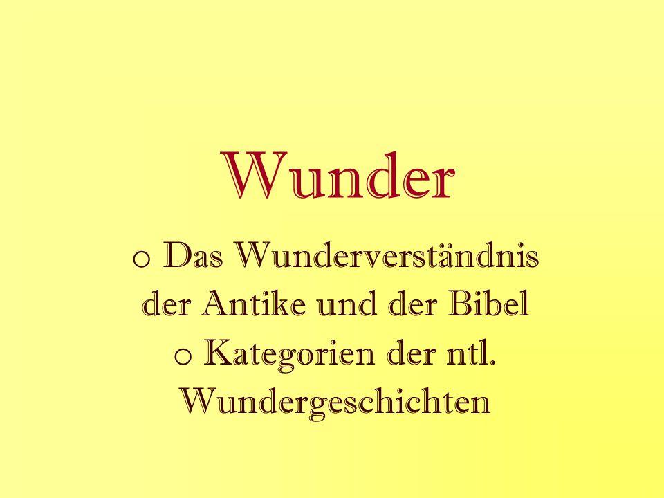 Wunder o Das Wunderverständnis der Antike und der Bibel o Kategorien der ntl. Wundergeschichten