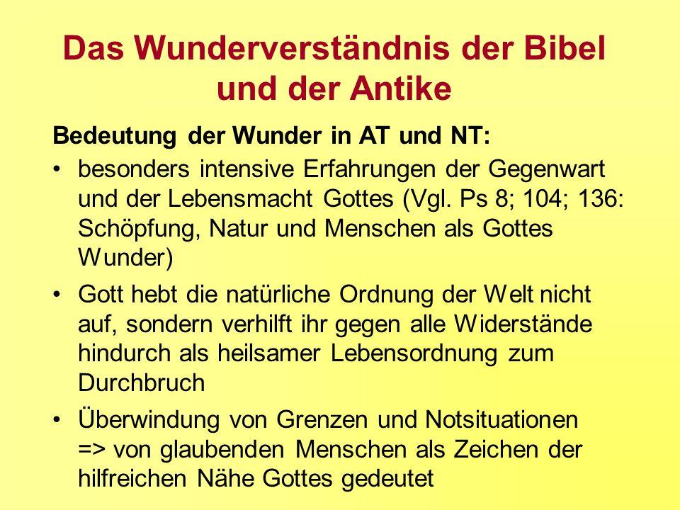 Das Wunderverständnis der Bibel und der Antike Bedeutung der Wunder in AT und NT: besonders intensive Erfahrungen der Gegenwart und der Lebensmacht Go