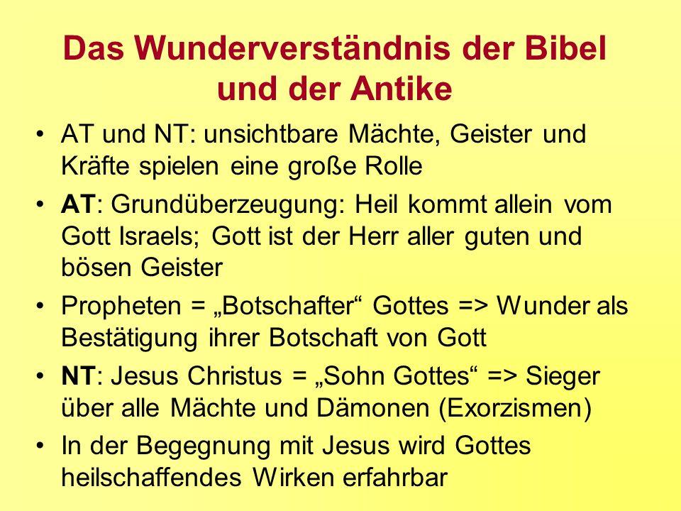 Das Wunderverständnis der Bibel und der Antike AT und NT: unsichtbare Mächte, Geister und Kräfte spielen eine große Rolle AT: Grundüberzeugung: Heil k