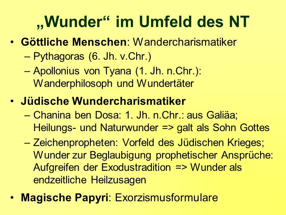 Wunder im Umfeld des NT Göttliche Menschen: Wandercharismatiker –Pythagoras (6. Jh. v.Chr.) –Apollonius von Tyana (1. Jh. n.Chr.): Wanderphilosoph und