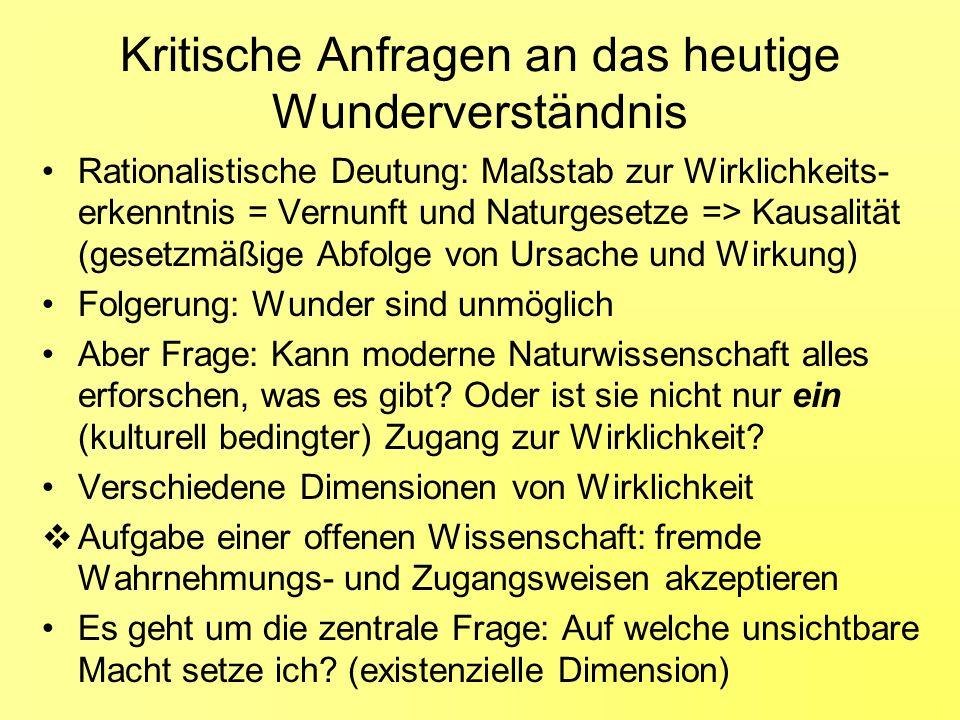 Kritische Anfragen an das heutige Wunderverständnis Rationalistische Deutung: Maßstab zur Wirklichkeits- erkenntnis = Vernunft und Naturgesetze => Kau