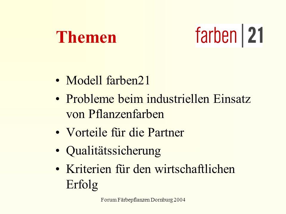 Forum Färbepflanzen Dornburg 2004 Themen Modell farben21 Probleme beim industriellen Einsatz von Pflanzenfarben Vorteile für die Partner Qualitätssicherung Kriterien für den wirtschaftlichen Erfolg