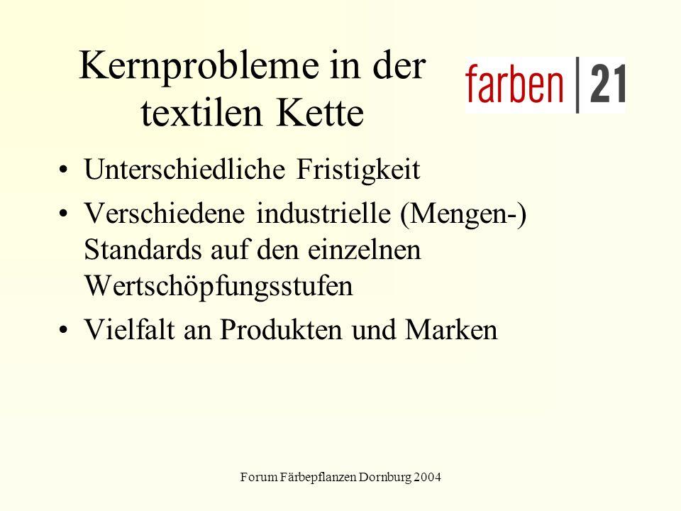 Forum Färbepflanzen Dornburg 2004 Kernprobleme in der textilen Kette Unterschiedliche Fristigkeit Verschiedene industrielle (Mengen-) Standards auf den einzelnen Wertschöpfungsstufen Vielfalt an Produkten und Marken