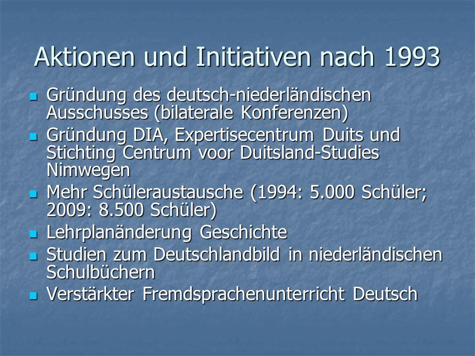 Aktionen und Initiativen nach 1993 Gründung des deutsch-niederländischen Ausschusses (bilaterale Konferenzen) Gründung des deutsch-niederländischen Au