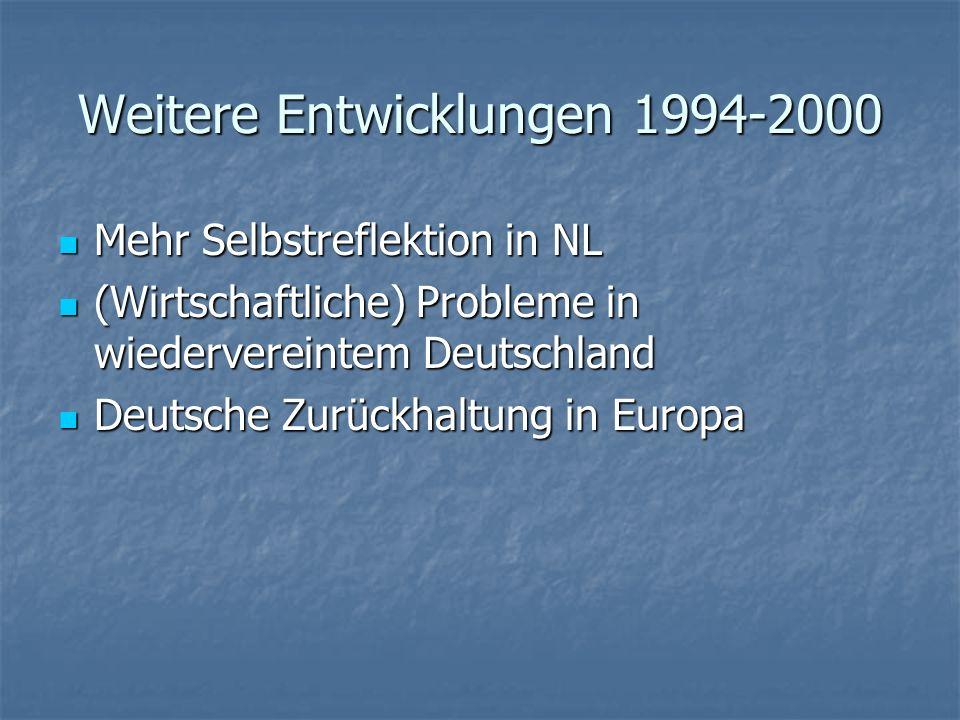 Weitere Entwicklungen 1994-2000 Mehr Selbstreflektion in NL Mehr Selbstreflektion in NL (Wirtschaftliche) Probleme in wiedervereintem Deutschland (Wir