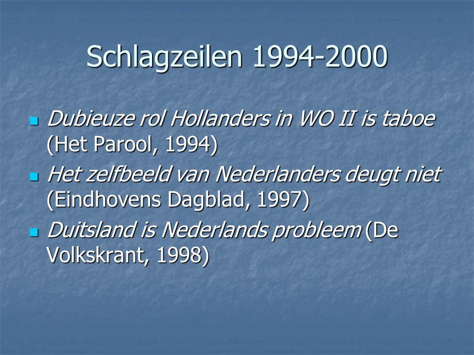 Schlagzeilen 1994-2000 Dubieuze rol Hollanders in WO II is taboe (Het Parool, 1994) Dubieuze rol Hollanders in WO II is taboe (Het Parool, 1994) Het z