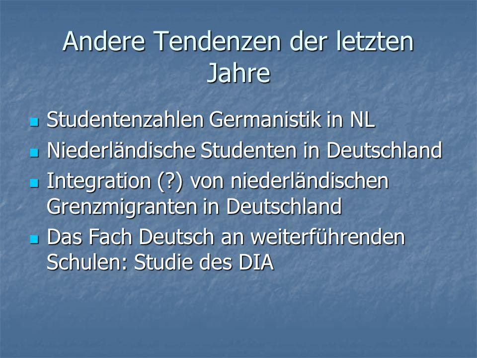 Andere Tendenzen der letzten Jahre Studentenzahlen Germanistik in NL Studentenzahlen Germanistik in NL Niederländische Studenten in Deutschland Nieder