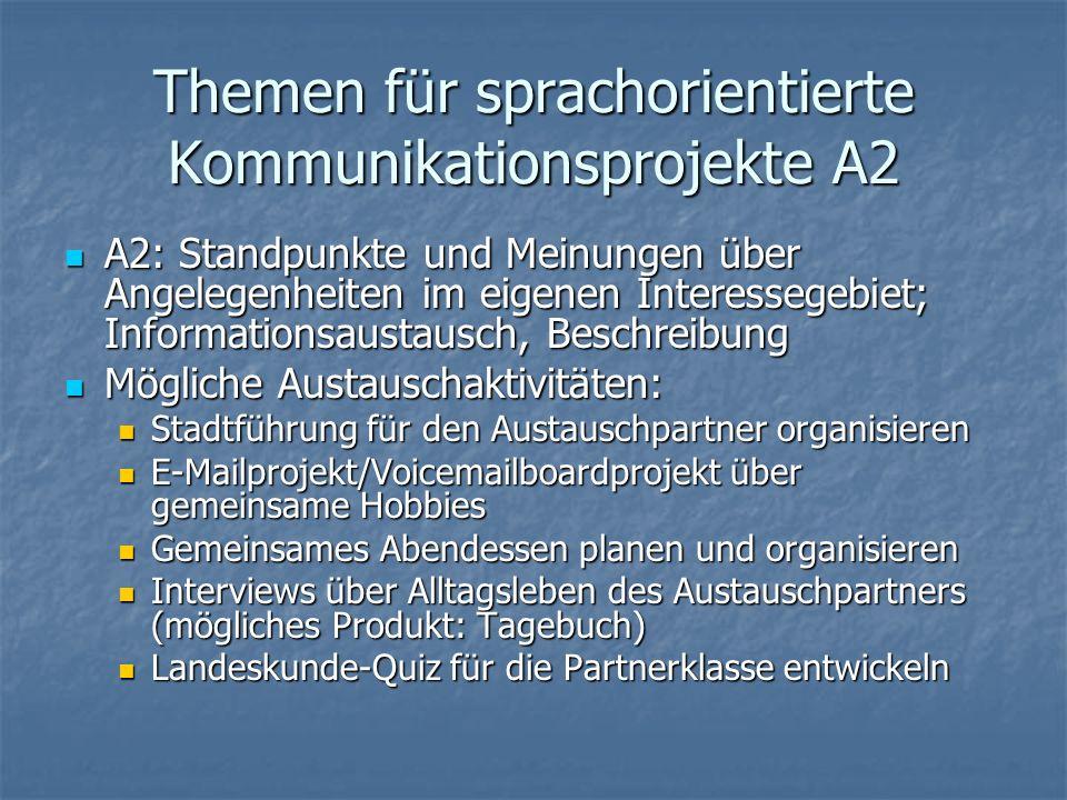 Themen für sprachorientierte Kommunikationsprojekte A2 A2: Standpunkte und Meinungen über Angelegenheiten im eigenen Interessegebiet; Informationsaust