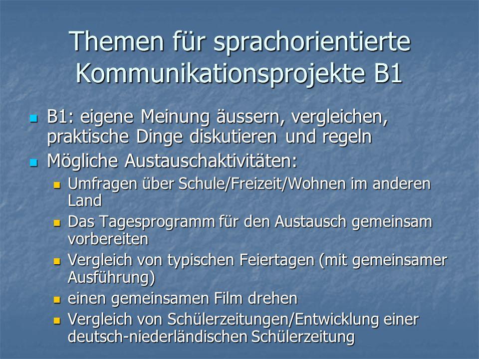 Themen für sprachorientierte Kommunikationsprojekte B1 B1: eigene Meinung äussern, vergleichen, praktische Dinge diskutieren und regeln B1: eigene Mei