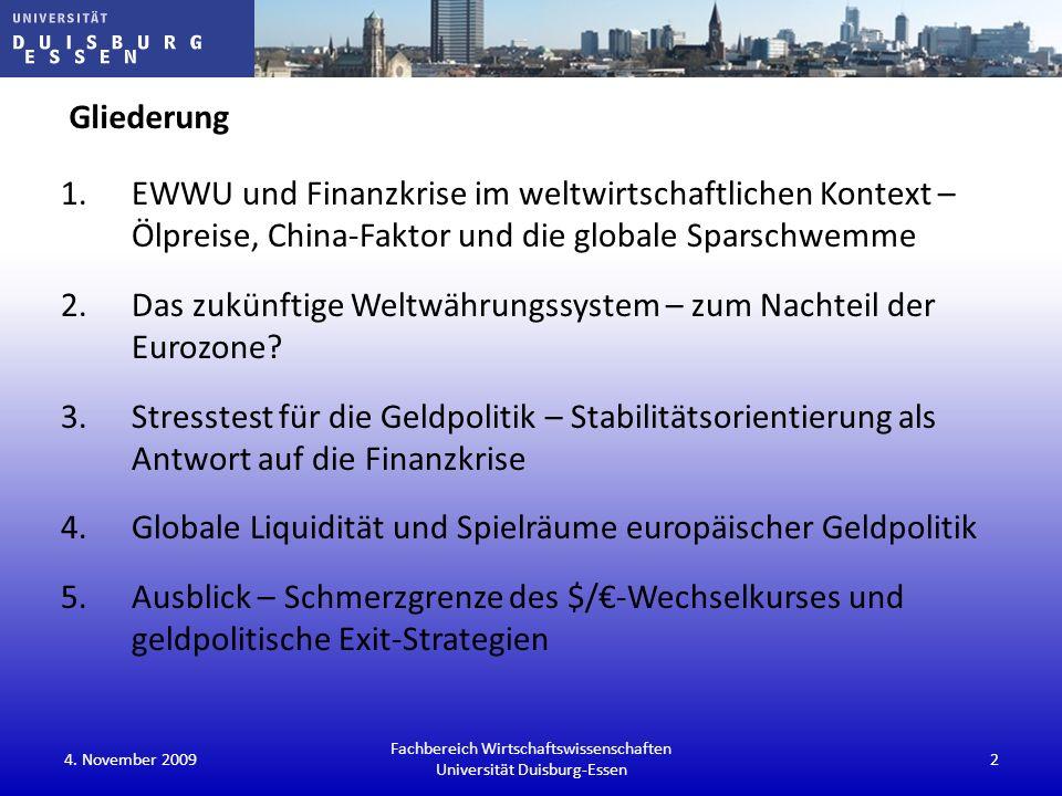 4. November 200943 Fachbereich Wirtschaftswissenschaften Universität Duisburg-Essen