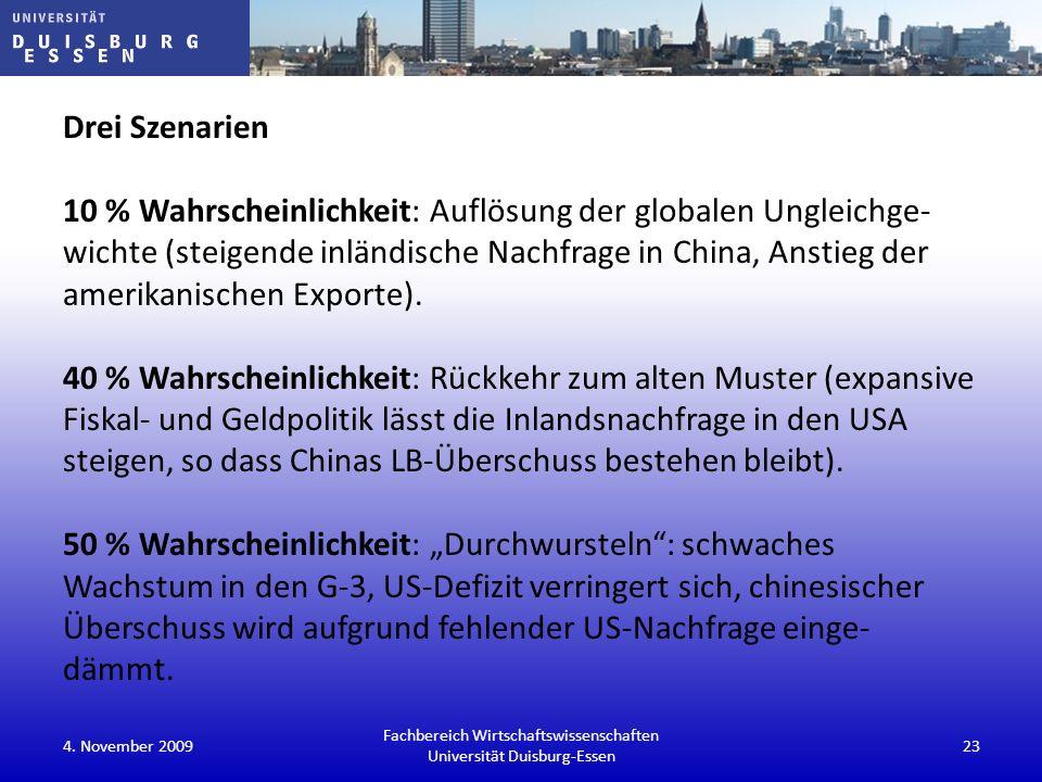 Drei Szenarien 10 % Wahrscheinlichkeit: Auflösung der globalen Ungleichge- wichte (steigende inländische Nachfrage in China, Anstieg der amerikanische