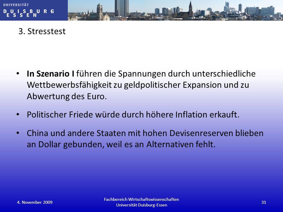 3. Stresstest In Szenario I führen die Spannungen durch unterschiedliche Wettbewerbsfähigkeit zu geldpolitischer Expansion und zu Abwertung des Euro.