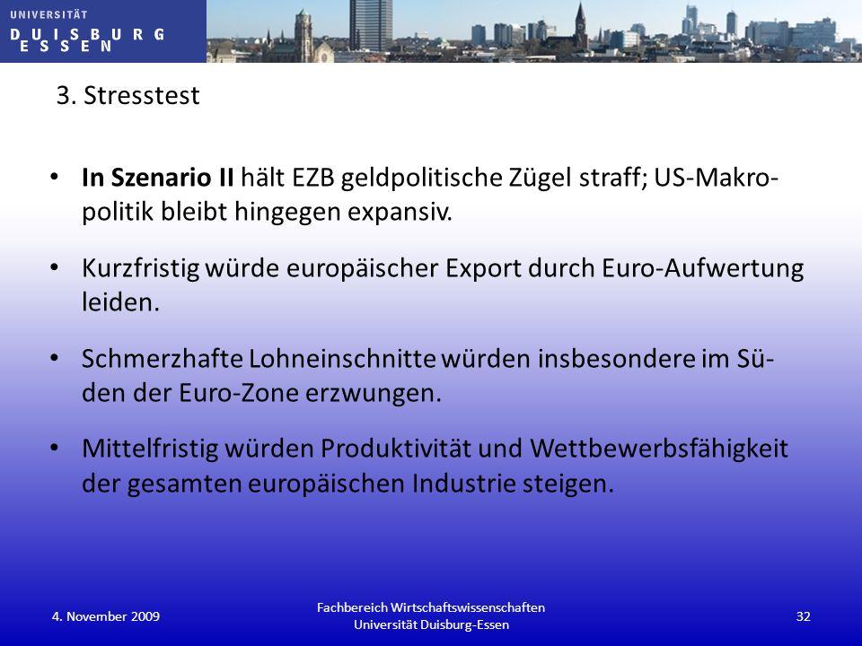 3. Stresstest In Szenario II hält EZB geldpolitische Zügel straff; US-Makro- politik bleibt hingegen expansiv. Kurzfristig würde europäischer Export d