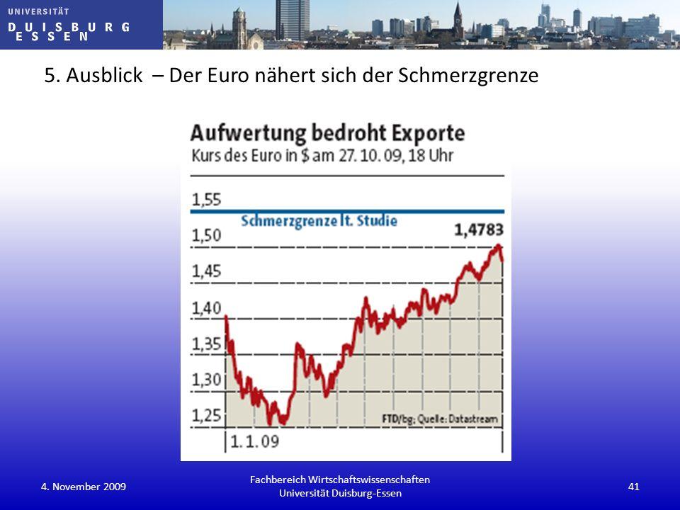 5. Ausblick – Der Euro nähert sich der Schmerzgrenze 4. November 200941 Fachbereich Wirtschaftswissenschaften Universität Duisburg-Essen